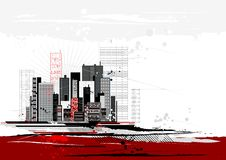 Urban scene, vector. Urban scene with many different shapes, vector illustration Stock Photography