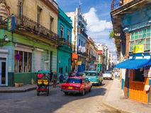 Urban scene in a well known street in Havana Stock Images