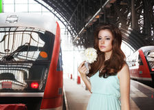 Urban Scene. Woman and Train. Railway Station Stock Photos