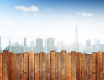 Urban Scene with Wooden Plank Fence Stock Photography