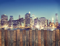 Urban Scene with Wooden Plank Fence Royalty Free Stock Photos