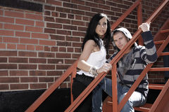 Urban scene on a young couple Stock Photography