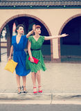Urban scene with young women Royalty Free Stock Photo