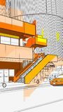 Urban scenery. City image of buildings and ascending stairs Royalty Free Stock Image