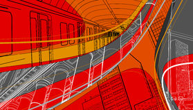 Urban scenery. City living collage with subway train, streets and buildings Royalty Free Stock Image