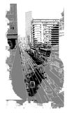 Urban scenery. City image with buildings and a street Royalty Free Stock Photo