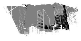 Urban scenery. City image with tall buildings Stock Image