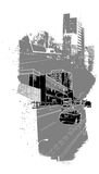 Urban scenery. City image collage with buildings, cars on a street Royalty Free Stock Image