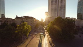 Urban scenery commuters people person city cityscape sunset aerial view. Video of urban scenery commuters people person city cityscape sunset aerial view stock footage