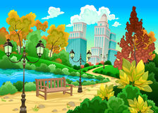 Urban scenery in a natural garden. Cartoon vector illustration Royalty Free Stock Photo