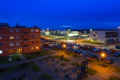 Urban scenery od Pruszcz Gdanski at dusk. In Poland Stock Photos
