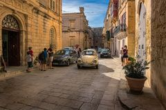 Urban scenes in Mdina. Malta. Old streets of the city of Mdina. An ordinary day in the life of local residents Royalty Free Stock Photos