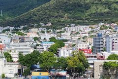 Urban scenic of Port-Louis Mauritius. City buildings by the mountain side in Port-Louis capital of Mauritius Royalty Free Stock Photo
