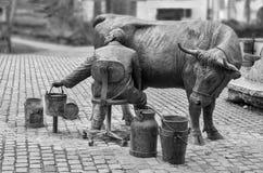 Urban sculpture of a farmer Royalty Free Stock Photos