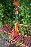 Urban sculpture - the original bench in the Central Park of the city of Ulyanovsk. Urban sculpture in the form of a bench stock photography