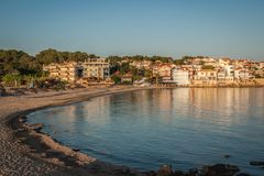 Urban and seascape at sunset in Arcudi on Peloponnese, Greece. Urban and seascape at sunset in Arcudi on Peloponnese in Greece royalty free stock photos