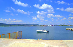 Urban seaside pier view Stock Photo