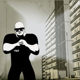 Urban Security. Background grunge illustration with a bouncer out on the street stock illustration