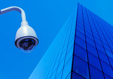 Urban security cameras. On blue sky Royalty Free Stock Images