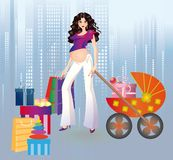 Urban shopping - pregnant women,  Stock Images
