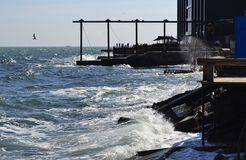 Urban shoreline. An urban shoreline not far from city center of Odessa, Ukraine Stock Photography