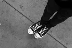 Urban Sidewalk Background, Black and White Royalty Free Stock Photos