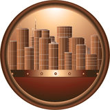 Urban sign. The round brown urban sign in frame Royalty Free Stock Photography
