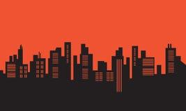 Urban silhouettes on orange backgrounds Royalty Free Stock Photo