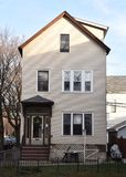 Urban Single Family House. This is a Winter picture of an urban single family house located in the Roscoe Village neighborhood of Chicago, Illinois.  The house Stock Photo