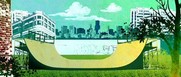 Urban skate freestyle ramp. Skate ramp in urban skyline clouds Royalty Free Stock Images