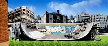 Urban skate freestyle ramp  Royalty Free Stock Photos