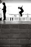 Urban Skateboarders in Black and White royalty free stock image