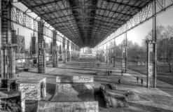 Urban skatepark. Black & white industrial skate park royalty free stock image
