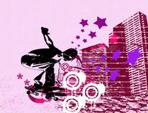 Urban skater. Skater flying on urban grunge scratched background Royalty Free Stock Image