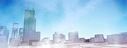 Urban sketch. Poster urban sketch in pale rainbow colors Royalty Free Stock Photography