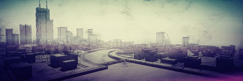 Urban sketch. Poster urban sketch in pale rainbow colors Stock Images