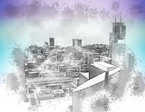 Urban sketch. Poster urban sketch in pale rainbow colors Stock Photography