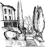 Urban sketch, house in the park,vector illustration Stock Photo