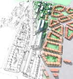 Urban sketch. Of a housing development Stock Images
