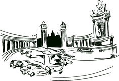 Urban sketch of plaza Espana, Barcelona Stock Images