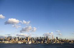 Urban Skyline. The skyline of the west side of New York City, Midtown from roughly Soho to the upper 70's. Includes the Intrepid, Cruise Ships, the Empire State stock photography