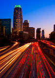 Urban Skyline. Los Angeles Skyline and Freeway at Sunset stock image