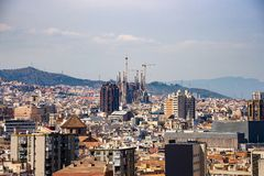 Urban skyline of Barcelona with the Sagrada Familia royalty free stock image
