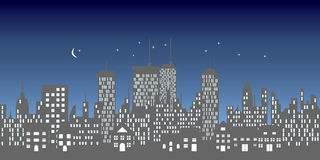 Urban skyline with buildings and skyscrapers. At night Stock Photography