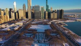 Urban Skyline of Chicago at Sunrise in Winter. Aerial View. USA