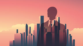 Urban skyline cityscape with businessman standing over. Double exposure vector illustration landscape background. Horizontal landscape orientation. Eps10 Stock Images