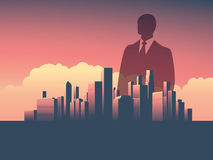 Urban skyline cityscape with businessman standing over. Double exposure vector illustration landscape background. Royalty Free Stock Photography