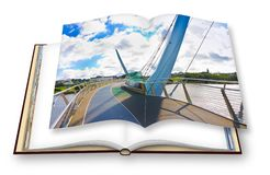 Urban skyline of Derry city also called Londonderry in northern Ireland with the famous Peace Bridge Europe - Northern Ireland. 3D rendering concept image of vector illustration