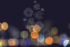 Urban skyline with fireworks exploding above it. Party and celebrations conceptual illustration: urban skyline with fireworks exploding above it Royalty Free Stock Photography