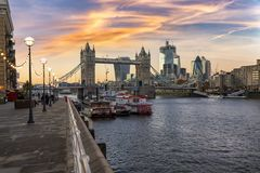 The urban skyline of London during sunset, United Kingdom. The urban skyline of London: view to the Tower Bridge and City of London during sunset, United Kingdom stock images